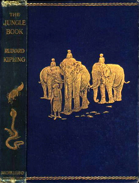 """Copertina e costa della prima edizione de """"Il libro della giungla"""" di Rudyard Kipling, 1894"""