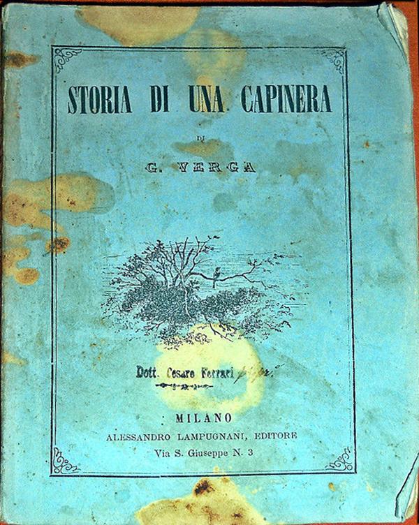 "Copertina di ""Storia di una capinera"" di Giovanni Verga, 1870"