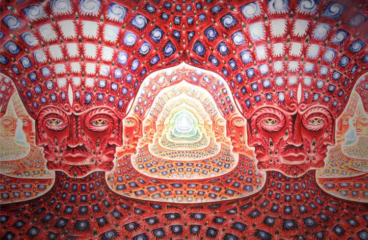 "Pagina interna del booklet di ""10.000 Days"" ad opera di Alex Grey per i Tool, 2006"